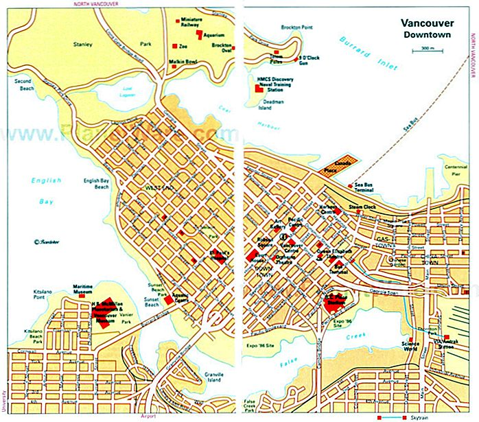 15 topp rangerte turistattraksjoner i Vancouver PlanetWare and City Map Bc